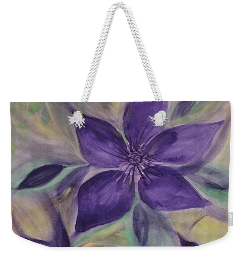 Purple Clematis Abstract Weekender Tote Bag featuring the photograph Purple Clematis Abstract by Maria Urso