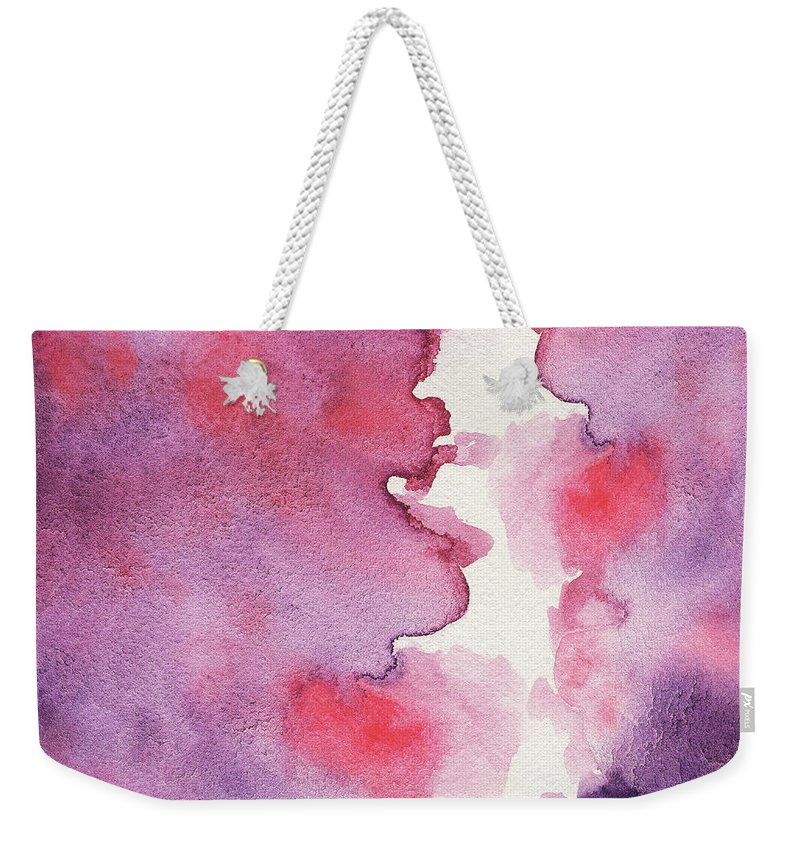 Abstract Weekender Tote Bag featuring the painting Purple Clouds Abstract Watercolor by Irina Sztukowski