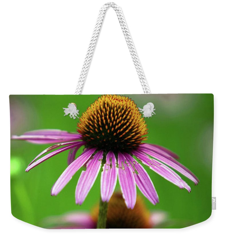 Alternative Weekender Tote Bag featuring the photograph Purple Cone Flower by Alan Look