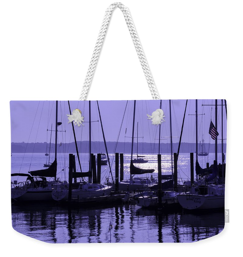 Sunrise Weekender Tote Bag featuring the photograph Purple Connecticut Sunrise by Marianne Campolongo