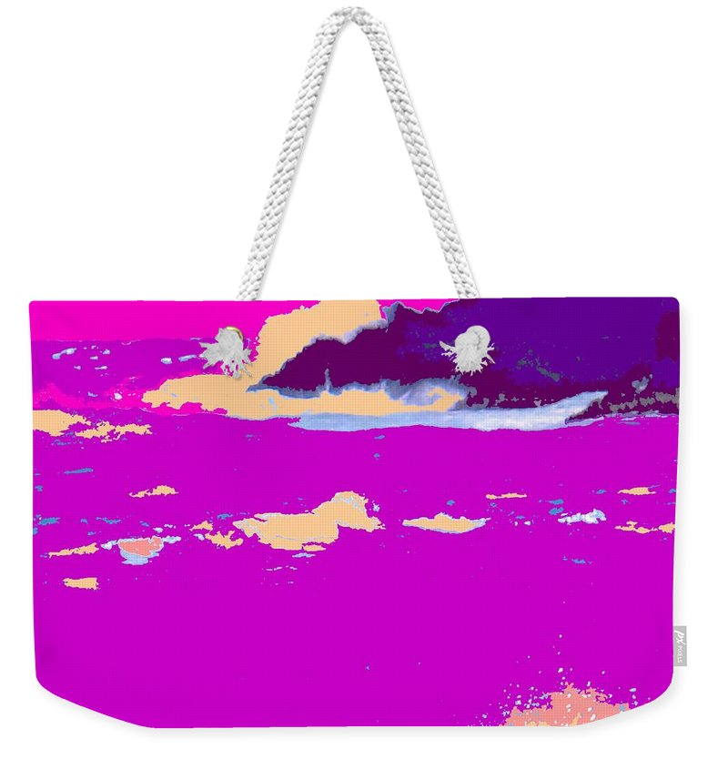 Waves Weekender Tote Bag featuring the photograph Purple Crashing Waves by Ian MacDonald
