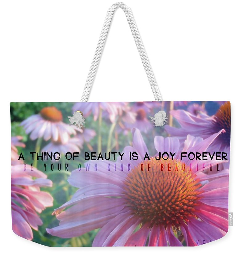 Purple Weekender Tote Bag featuring the photograph Purple Daisies Quote by JAMART Photography