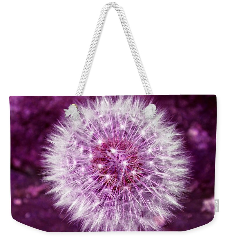 Dandelion Weekender Tote Bag featuring the photograph Purple Dandy by P Donovan