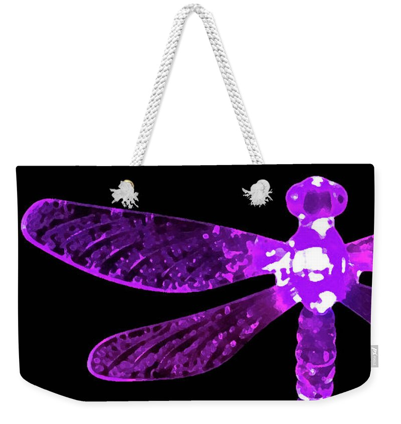 Purple Dragonfly Weekender Tote Bag