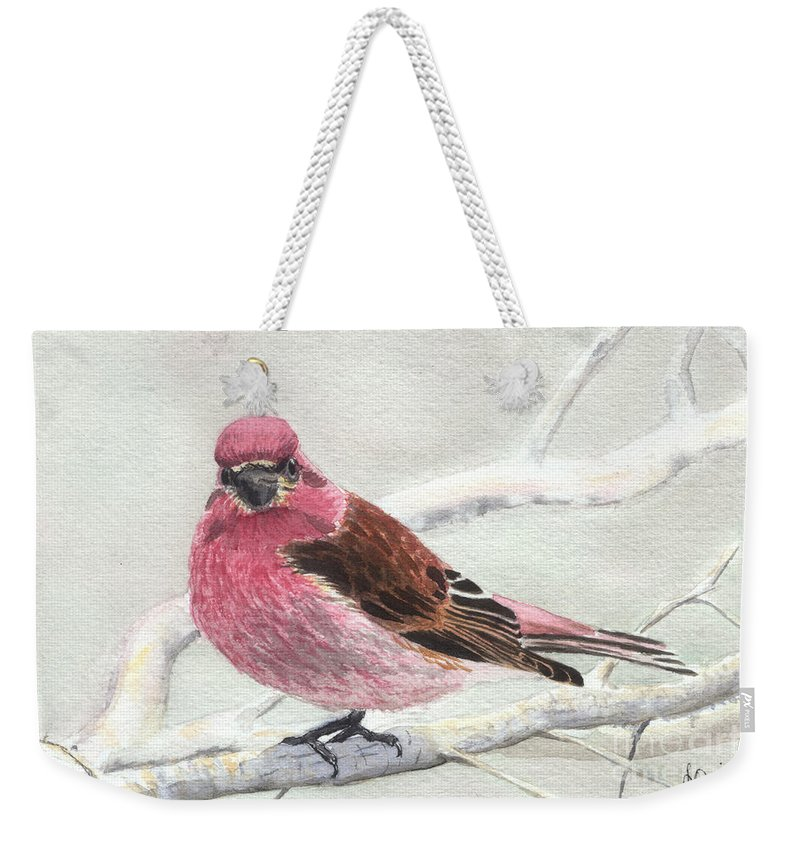 Bird Weekender Tote Bag featuring the painting Purple Finch by Lynn Quinn