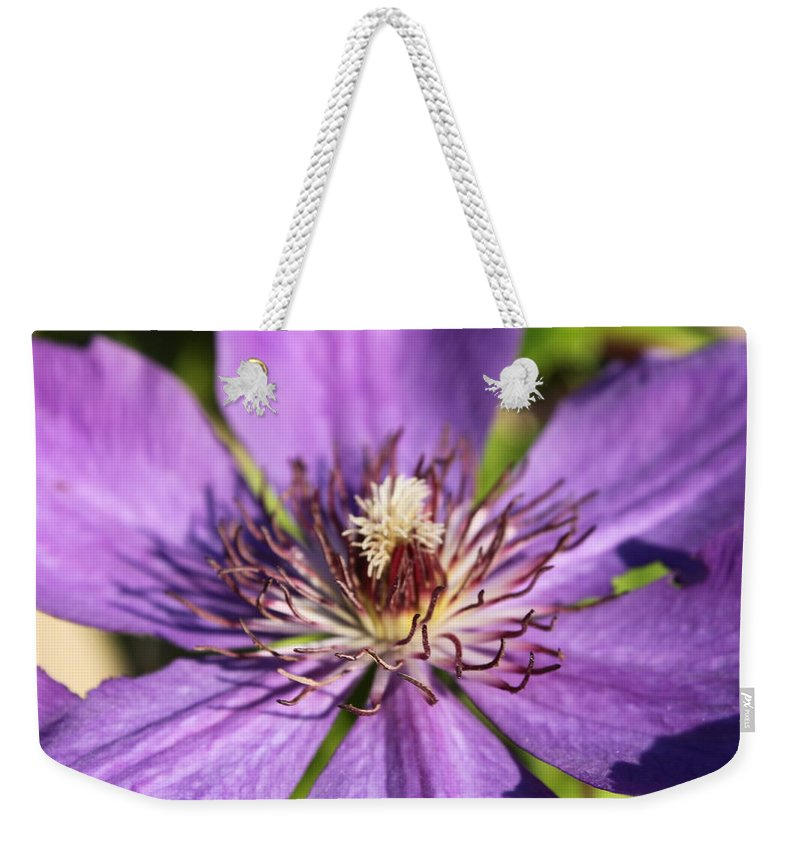 Purple Weekender Tote Bag featuring the photograph Purple Flower by Lauri Novak