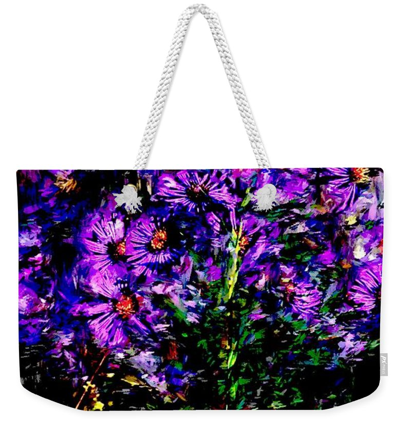 Digital Photograph Weekender Tote Bag featuring the photograph Purple Flower Still Life by David Lane