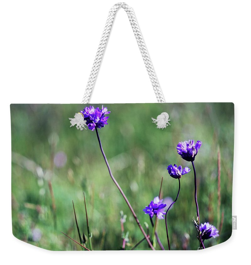 Purple Weekender Tote Bag featuring the photograph Purple Flowers by Jim And Emily Bush