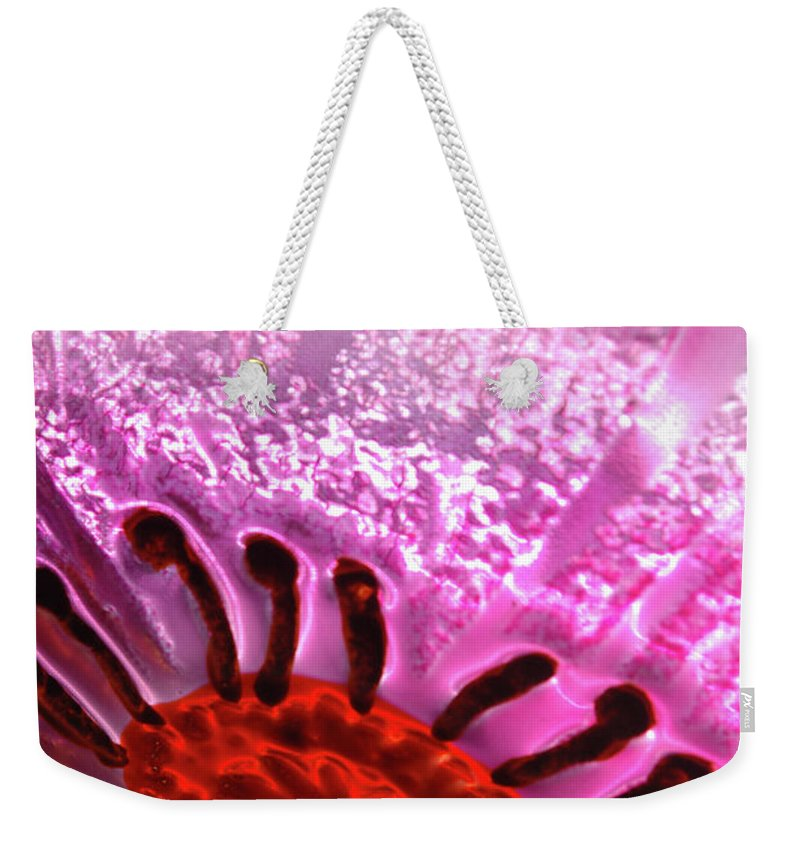 Flower Weekender Tote Bag featuring the photograph Purple Haze by Jerry McElroy