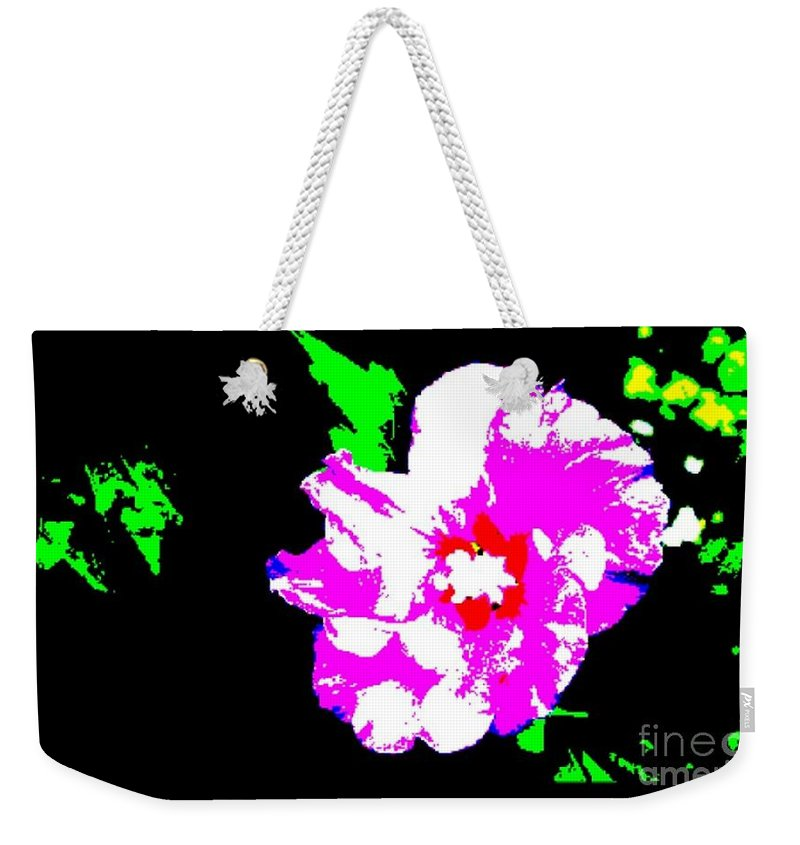 Purple Hibiscus Weekender Tote Bag featuring the photograph Purple Hibiscus by Maria Joy