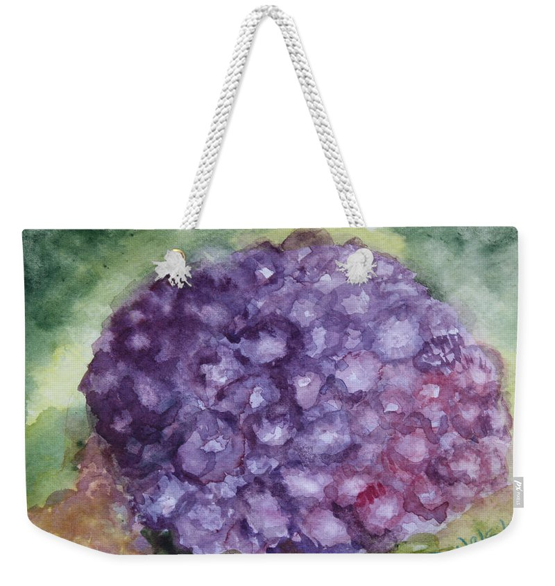 Purple Weekender Tote Bag featuring the painting Purple Hydrangea by Donna Walsh