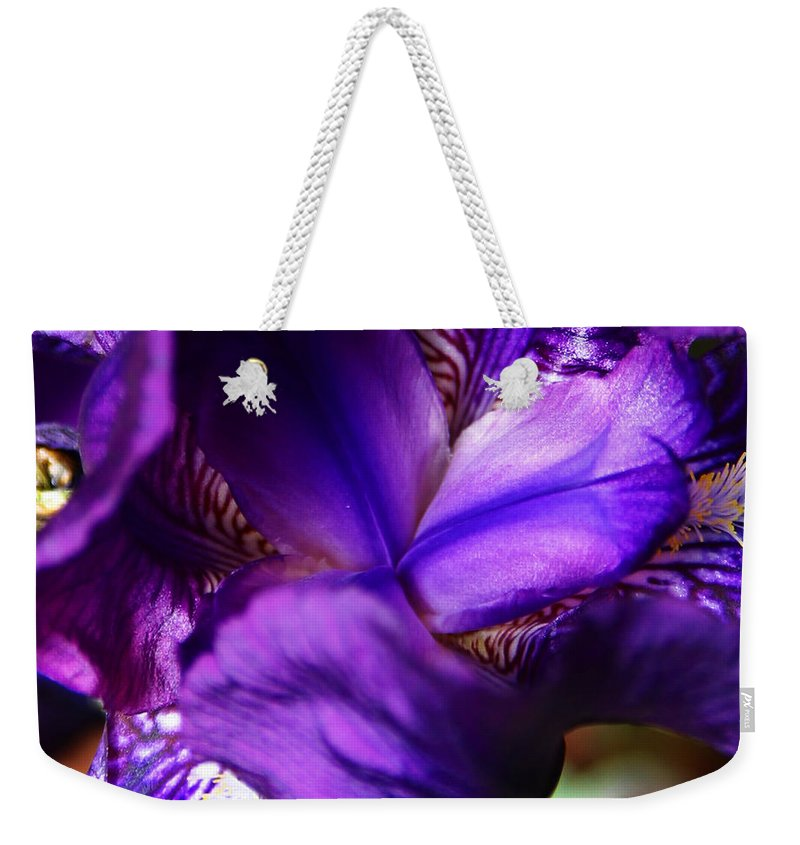 Weekender Tote Bag featuring the photograph Purple Iris by Anthony Jones