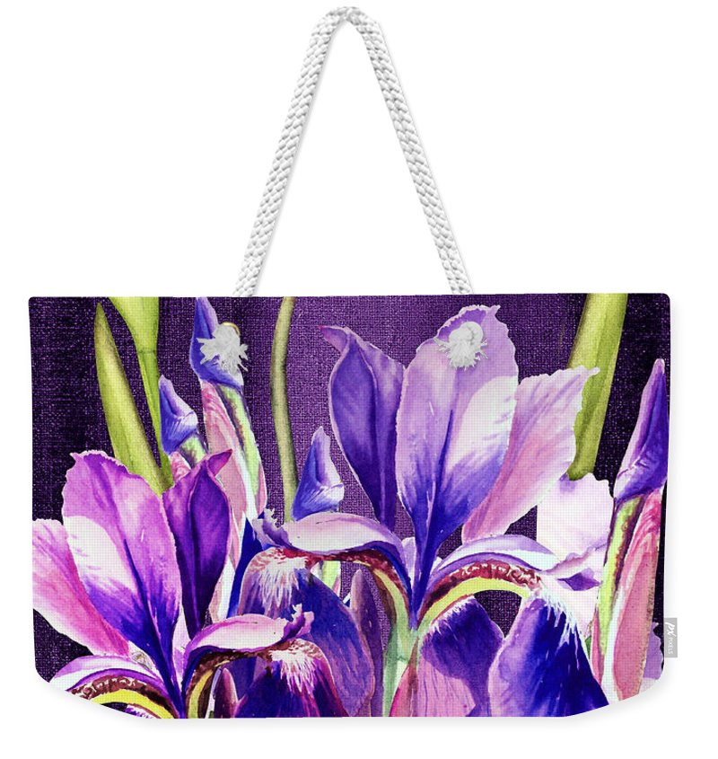 Iris Weekender Tote Bag featuring the painting Purple Iris Dance by Irina Sztukowski