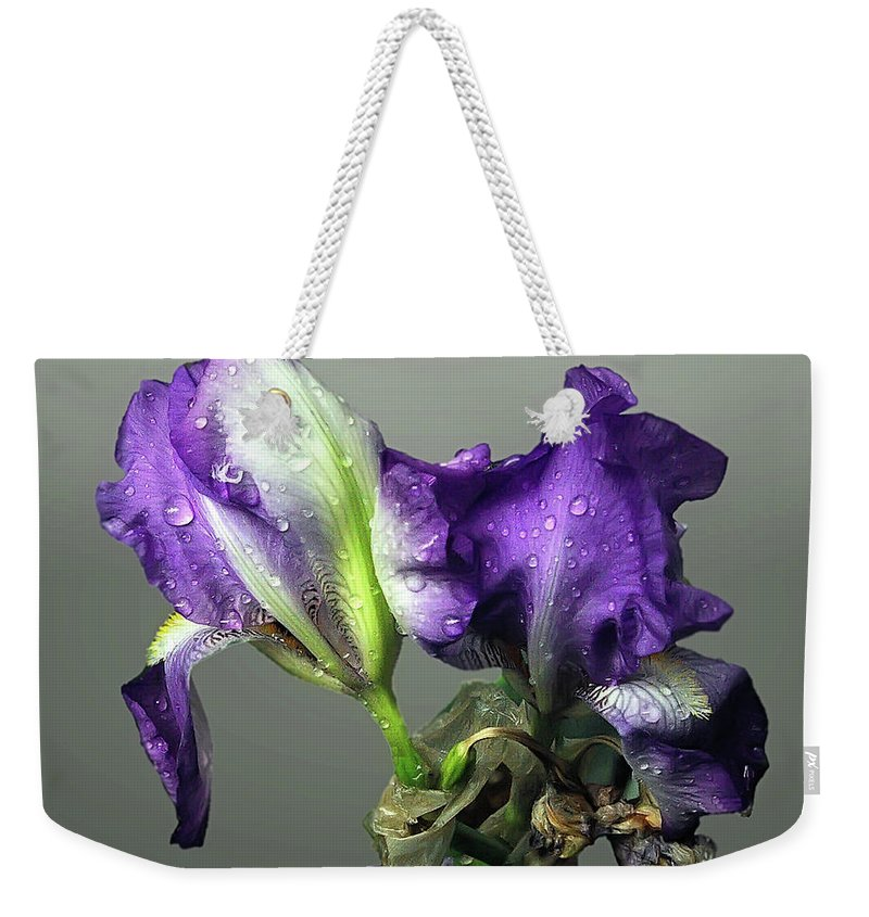 2d Weekender Tote Bag featuring the photograph Purple Iris Water Drops by Brian Wallace
