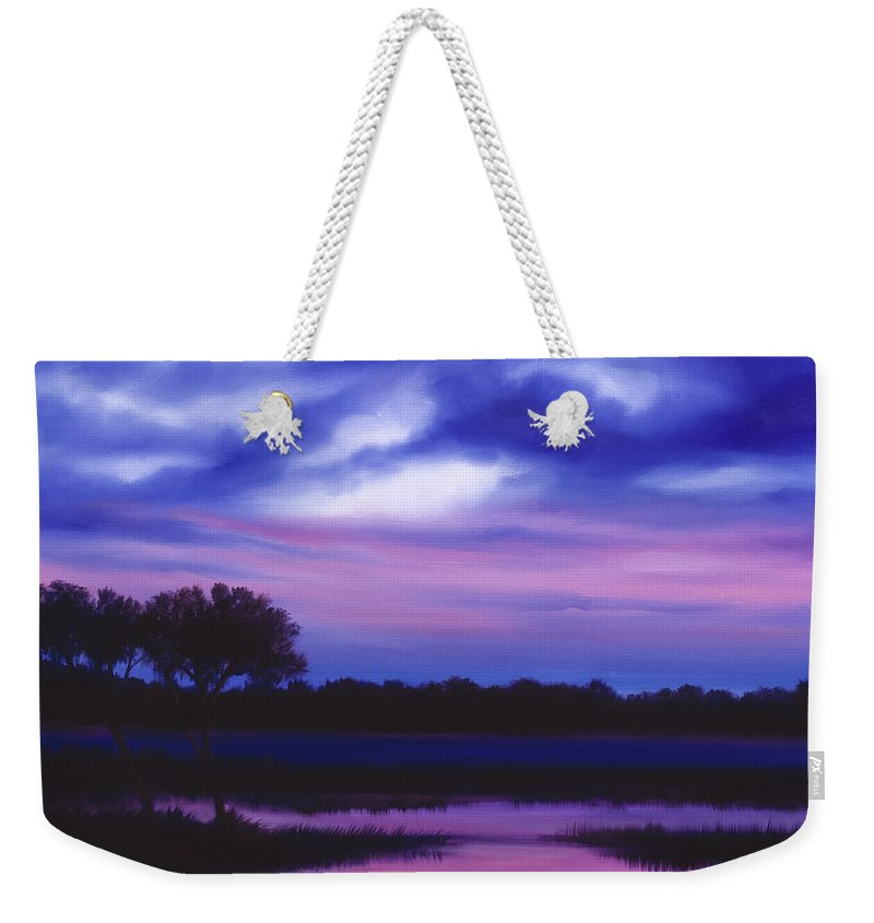 Sunrise Weekender Tote Bag featuring the painting Purple Landscape Or Jean's Clearing by James Christopher Hill
