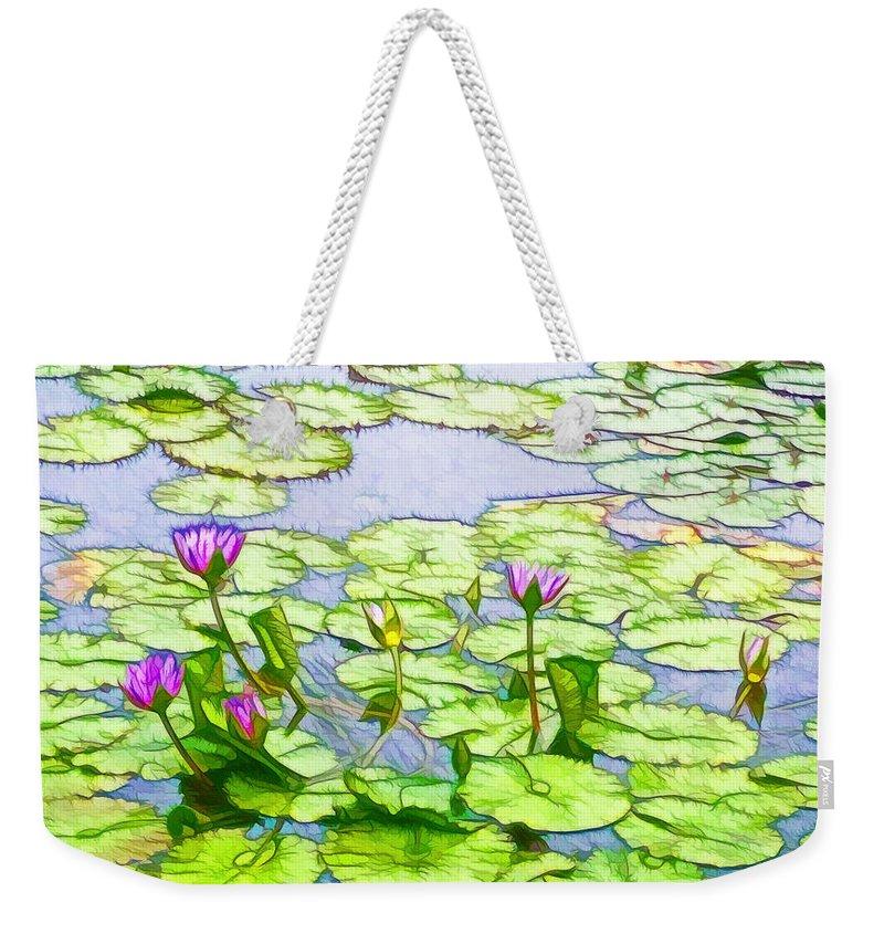 Purple Lotus Flower Reflection Weekender Tote Bag featuring the painting Purple Lotus Flower by Jeelan Clark