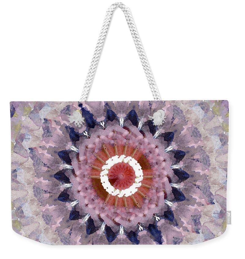 Purple Weekender Tote Bag featuring the painting Purple Mosaic Mandala - Abstract Art By Linda Woods by Linda Woods