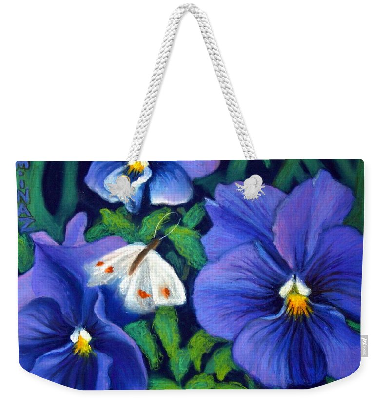 Pansy Weekender Tote Bag featuring the painting Purple Pansies And White Moth by Minaz Jantz