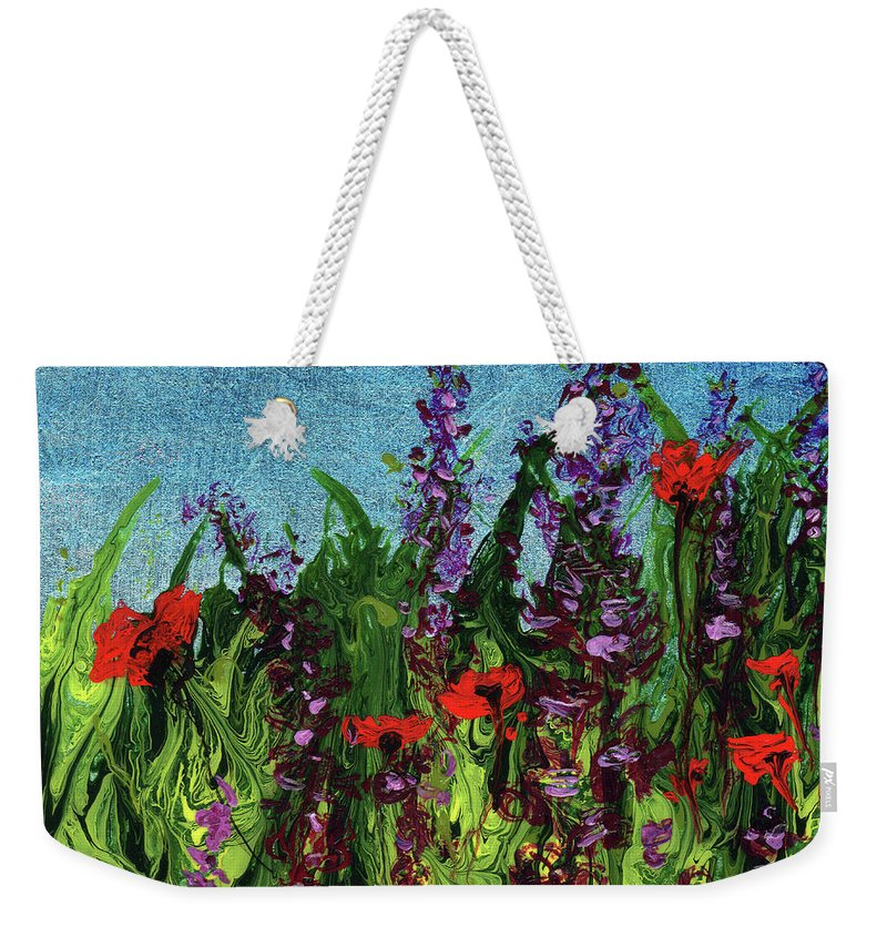 White Weekender Tote Bag featuring the painting Purple Passion by Cindy Johnston