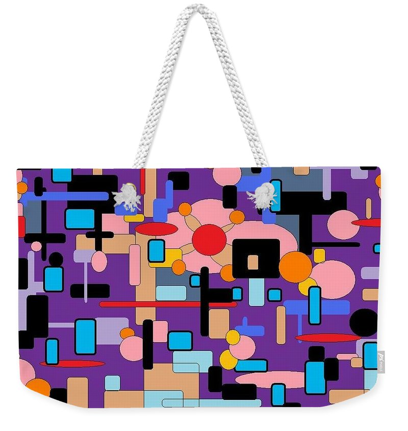 Abstract Digital Weekender Tote Bag featuring the digital art Purple Passion by Jordana Sands