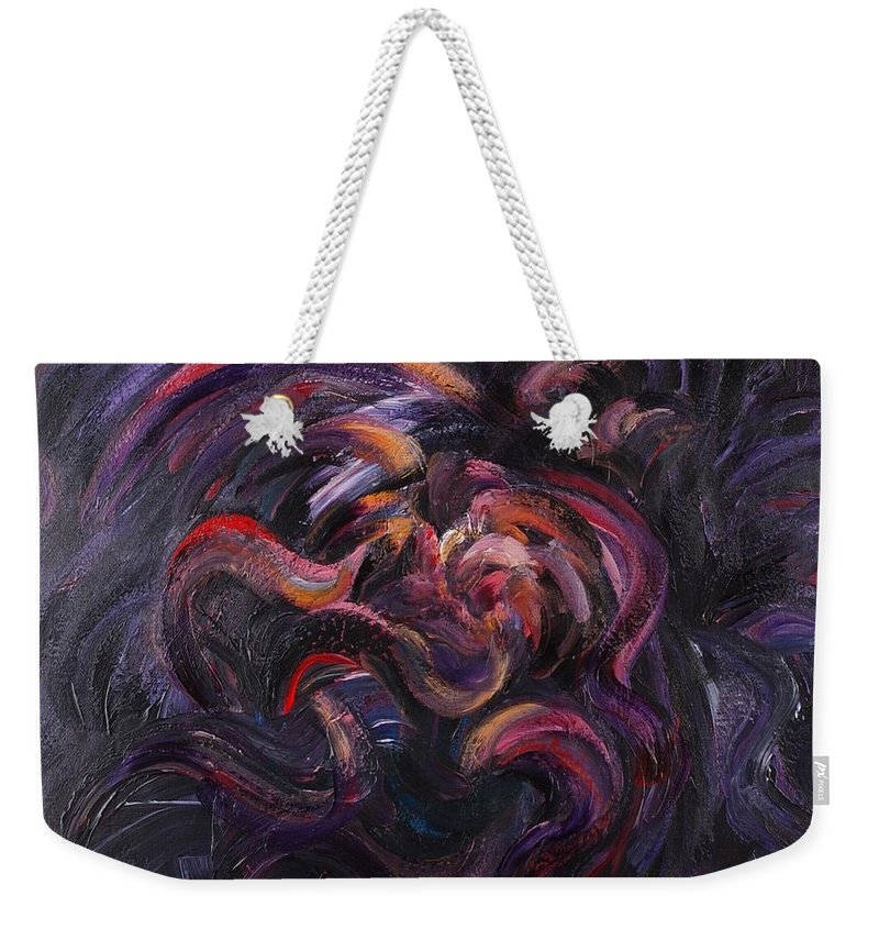 Purple Weekender Tote Bag featuring the painting Purple Passion by Nadine Rippelmeyer
