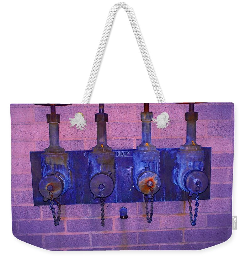 Photograph Weekender Tote Bag featuring the photograph Purple Pipes by Thomas Valentine