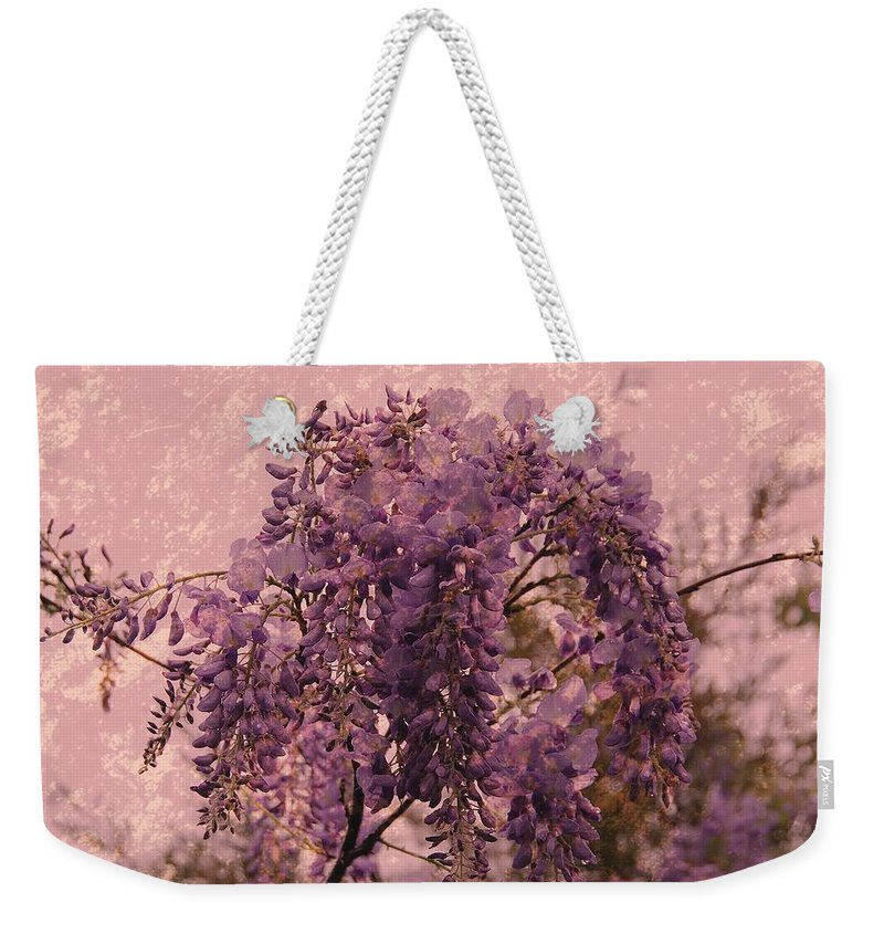 Wisteria Flowers Weekender Tote Bag featuring the photograph Purple Pleasures by Angie Tirado