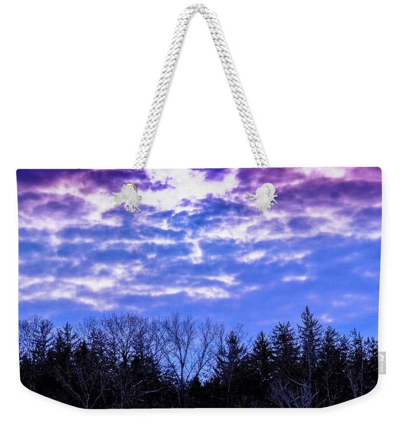 Landscape Weekender Tote Bag featuring the photograph Purple Puffs by Timm Armitage