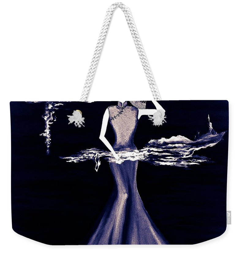 Contemporary Weekender Tote Bag featuring the digital art Purple Scent by Fei A