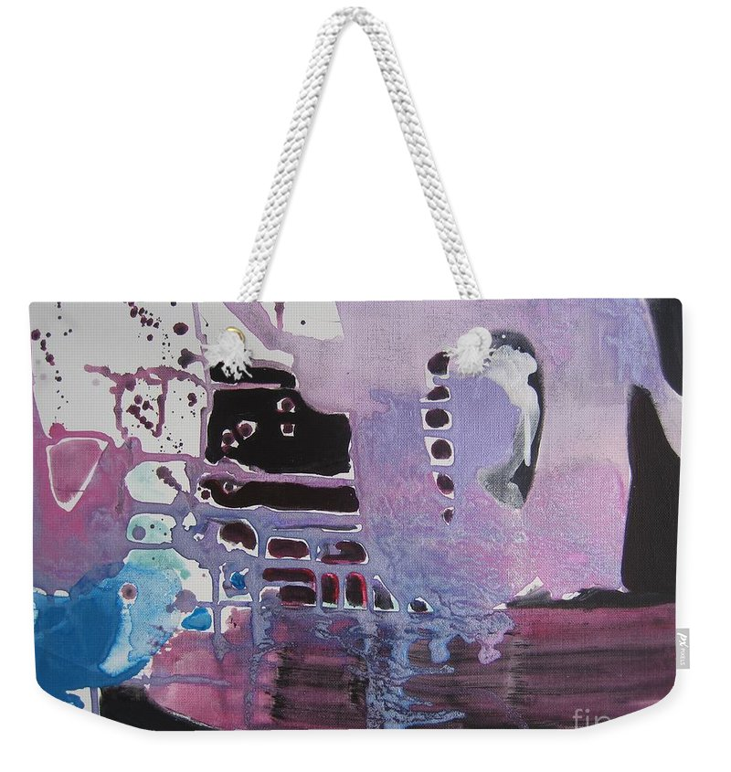 Abstract Paintings Weekender Tote Bag featuring the painting Purple Seascape by Seon-Jeong Kim