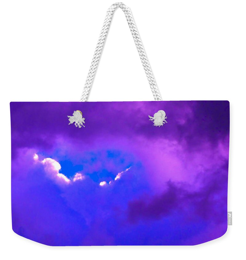 Photograph Of Clouds Weekender Tote Bag featuring the photograph Purple Storm by Gwyn Newcombe