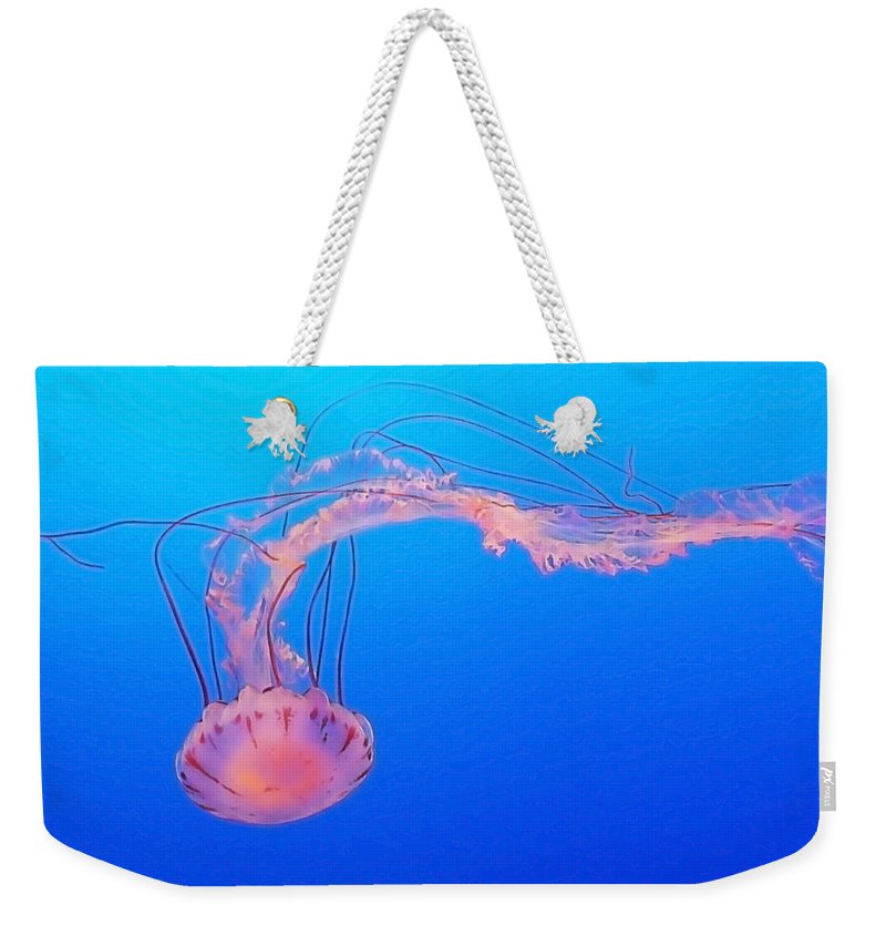 Jellyfish Weekender Tote Bag featuring the photograph Purple Striped Jellyfish by Art Block Collections