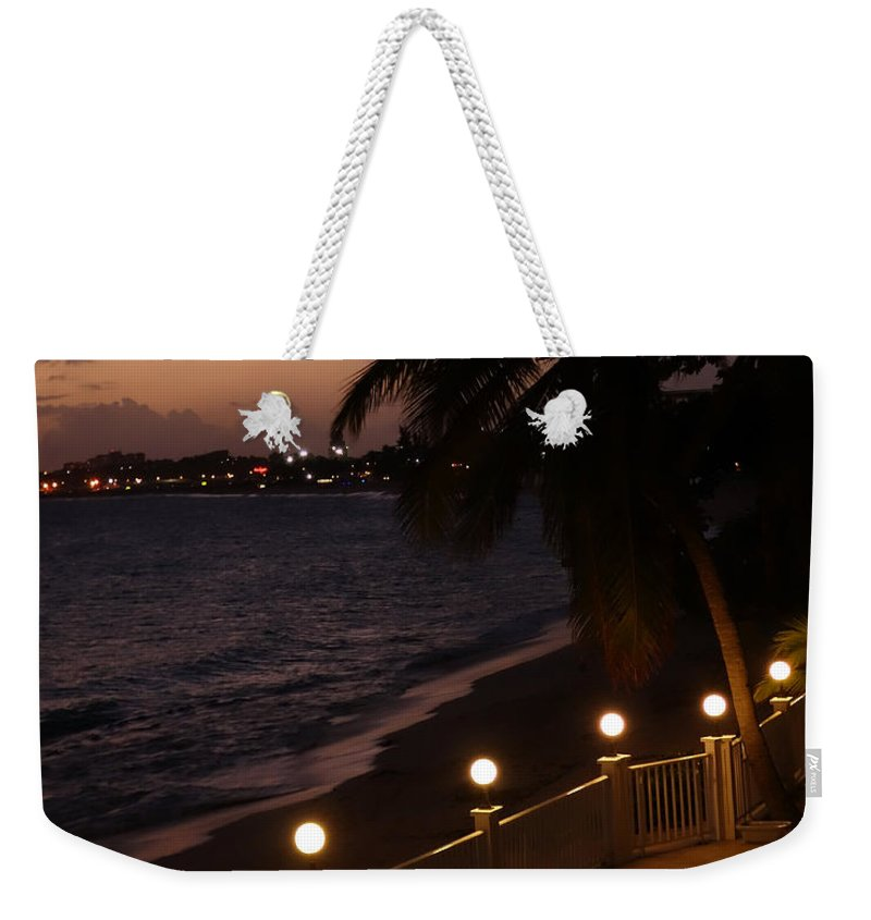 St Weekender Tote Bag featuring the photograph Purple Sunset In Saint Martin by Toby McGuire