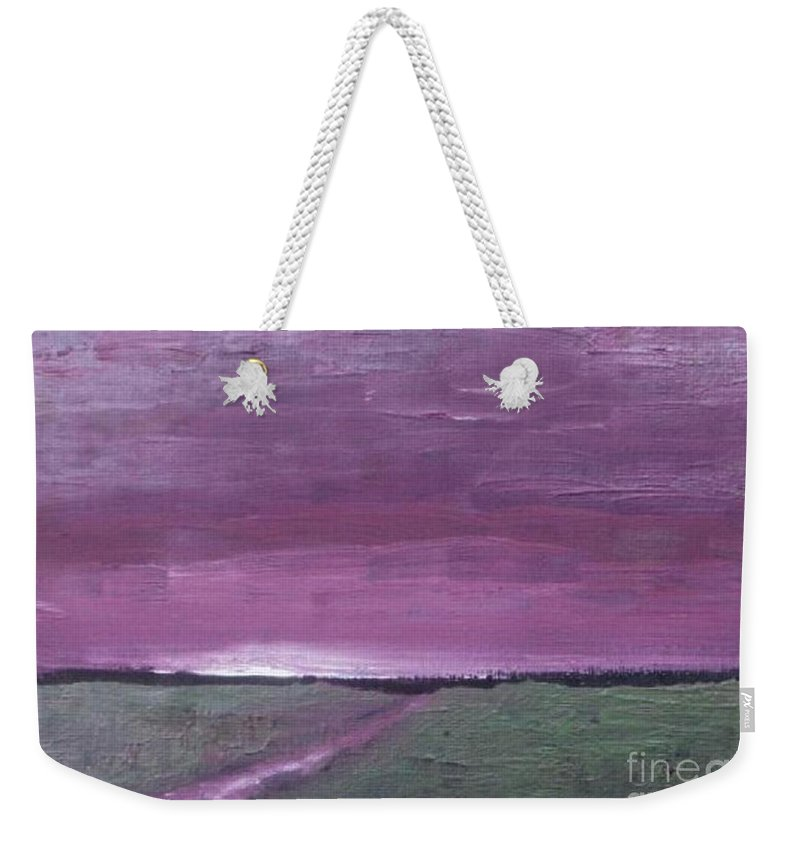 Landscape Weekender Tote Bag featuring the painting Purple Sunset by Vesna Antic