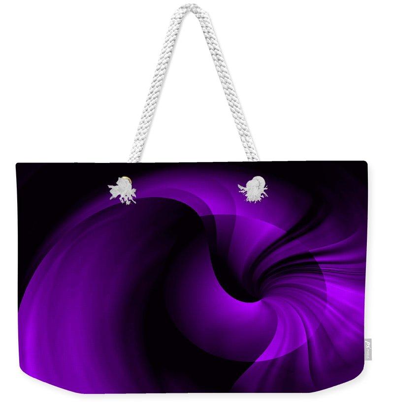 ruth Palmer Weekender Tote Bag featuring the digital art Purple Swirl by Ruth Palmer