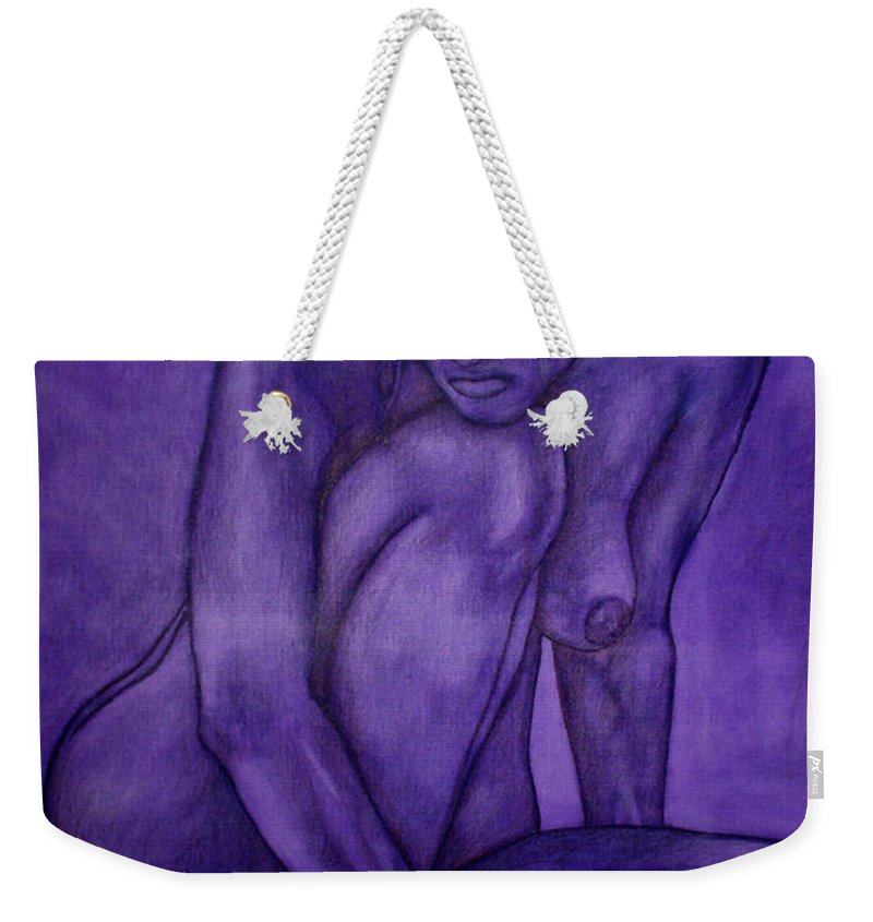 Nude Women Weekender Tote Bag featuring the painting Purple by Thomas Valentine