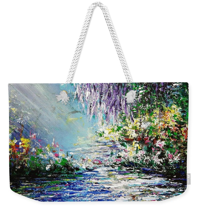 Purple Weekender Tote Bag featuring the painting Purple Tree By The Lake by Kume Bryant