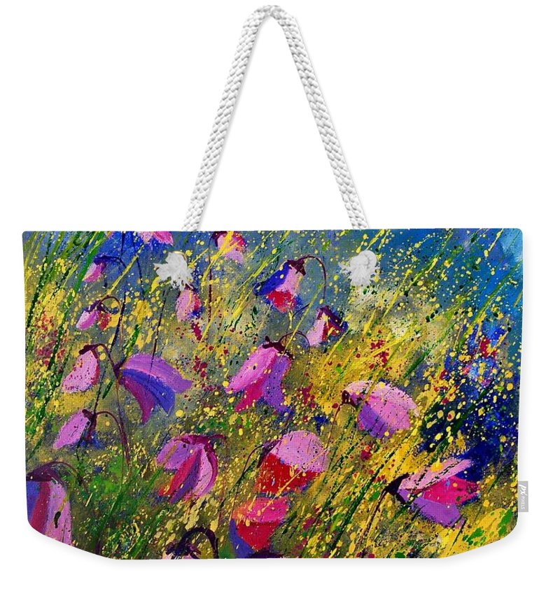 Poppies Weekender Tote Bag featuring the painting Purple Wild Flowers by Pol Ledent
