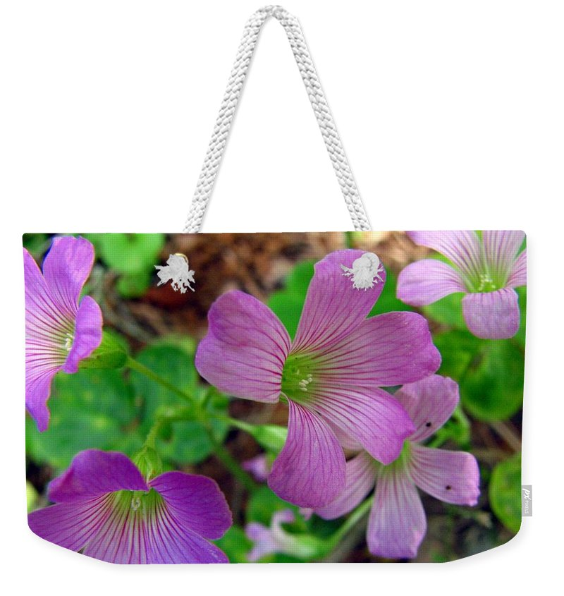 Wildflowers Weekender Tote Bag featuring the photograph Purple Wildflowers Macro 3 by J M Farris Photography