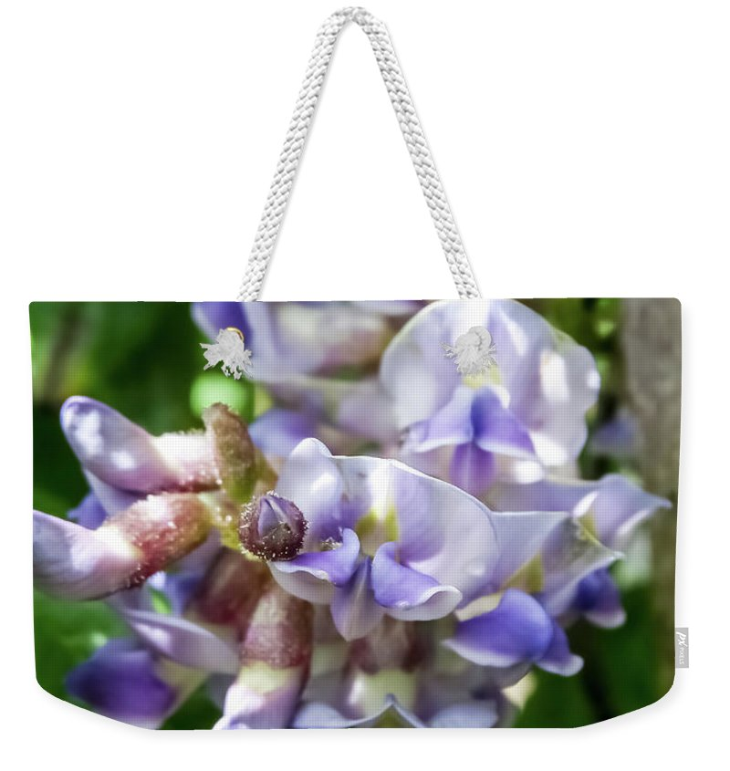Purple Wisteria Weekender Tote Bag featuring the photograph Purple Wisteria by Cynthia Woods