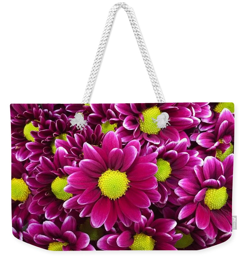 Flowers Weekender Tote Bag featuring the photograph Purple Yellow Flowers by Lawrence S Richardson Jr