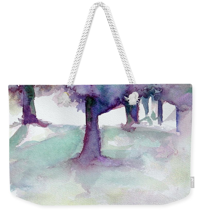 Landscape Weekender Tote Bag featuring the painting Purplescape II by Jan Bennicoff
