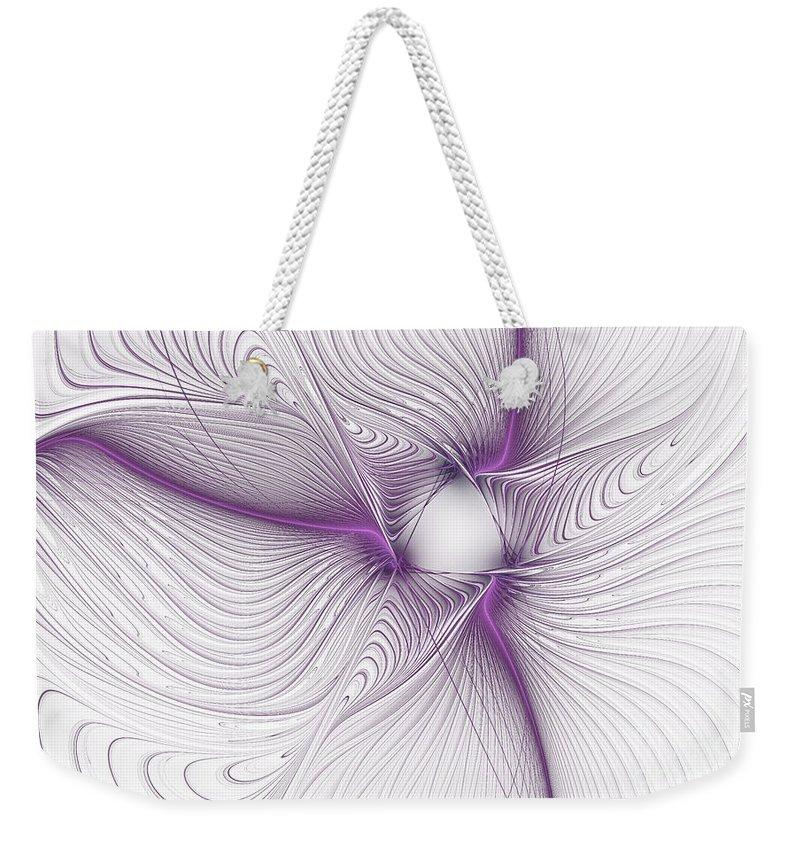 Apophysis Weekender Tote Bag featuring the mixed media Purplish by Deborah Benoit