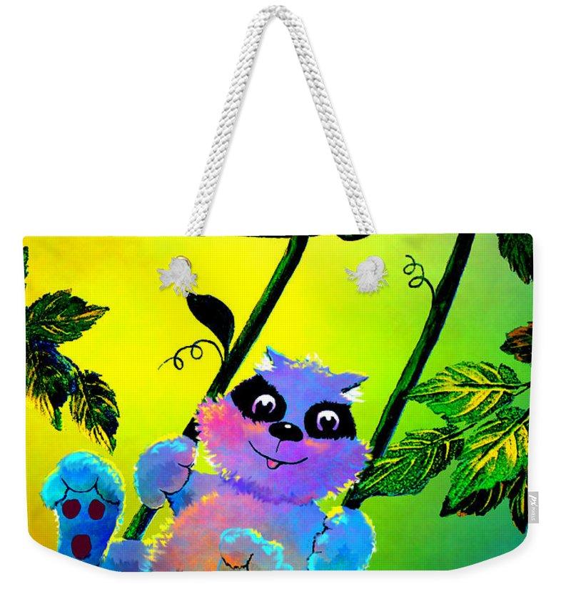 Raccoon Weekender Tote Bag featuring the painting Push Me Please by Hanne Lore Koehler