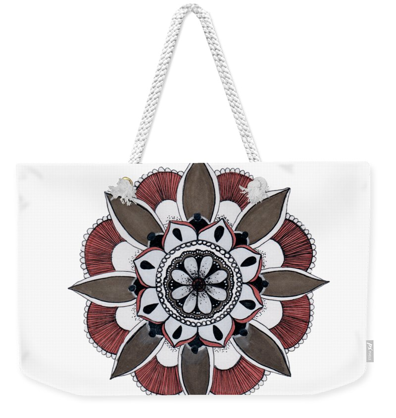 Mandala Weekender Tote Bag featuring the drawing Push Out by Alyssa Baird