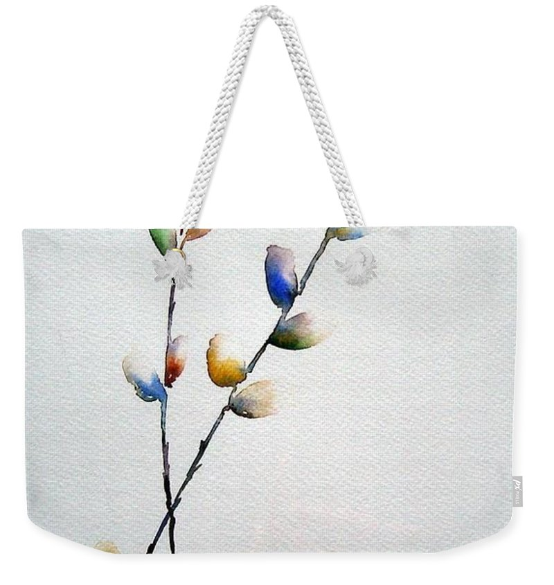Pussy Willow Branches Weekender Tote Bag featuring the painting Pussy Willows by Jo Smoley