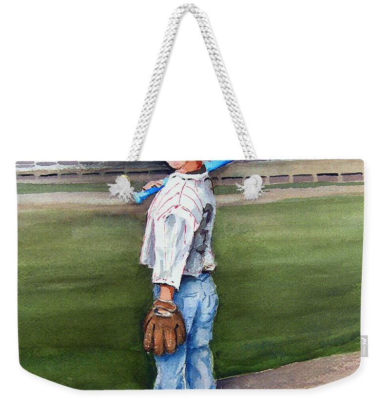 Baseball Weekender Tote Bag featuring the painting Put Me In Coach by Sam Sidders