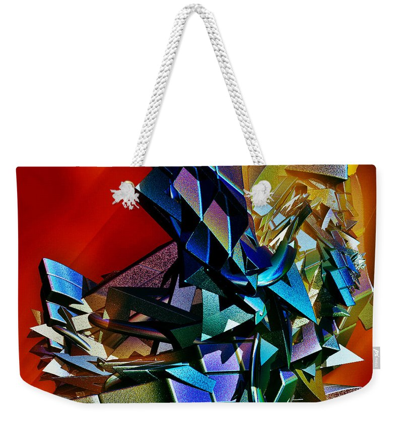 Shapes Weekender Tote Bag featuring the digital art Puzzled by Sara Raber