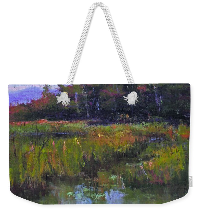 Landscape Weekender Tote Bag featuring the painting Pyramid Lake Marsh by Susan Williamson
