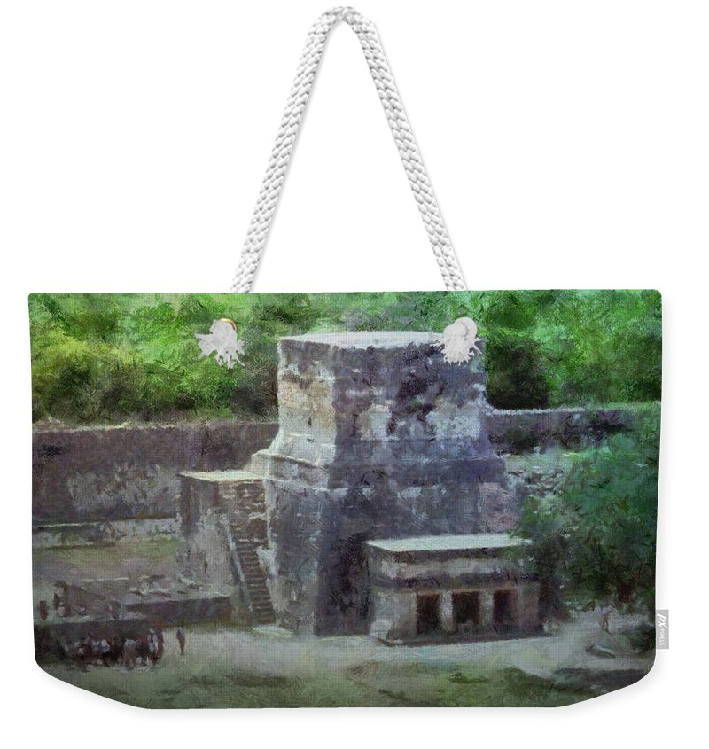 Yucatan Weekender Tote Bag featuring the painting Pyramid View by Jeffrey Kolker